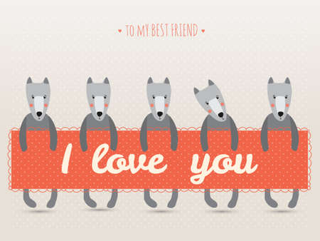 romantic greeting card with cute dogs and hearts Vector