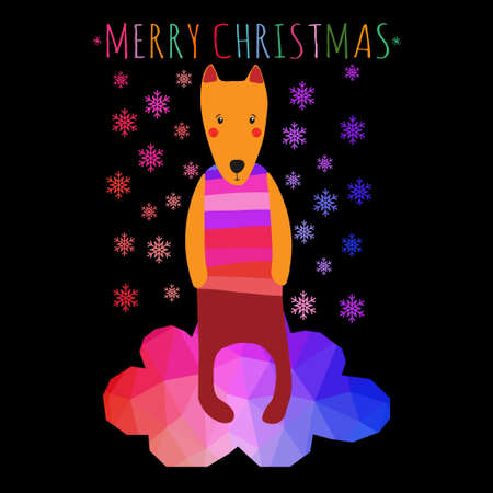 greeting christmass card with cute colorful dog.  Vector