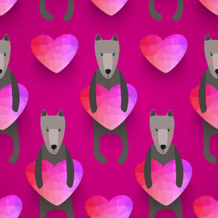 romantic seamless pattern with hearts and dogs . background made of triangles Square composition with geometric shapes.  Vector