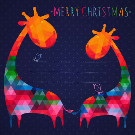 colorful christmas greeting card with giraffes. Square composition with geometric shapes.  Vector