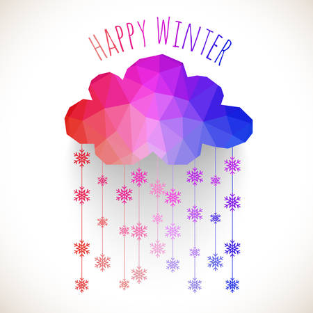 ilhouette: Vector cloud with snowfall, winter background made of triangles. Retro background with snowfall cloud. Snowflake. Square composition with geometric shapes.Weather backdrop. Winter template. Illustration