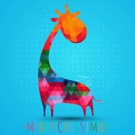 giraffe silhouette: colorfull christmas greeting card with giraffe