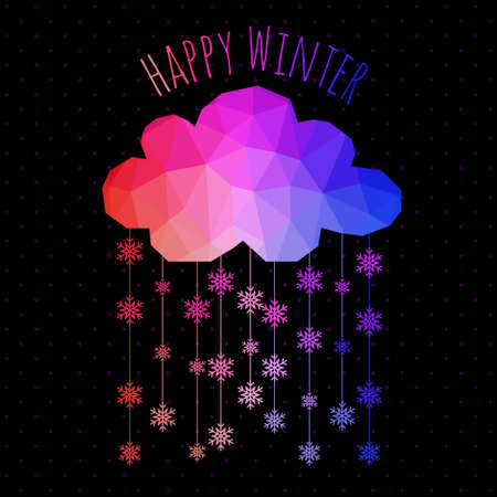 Vector cloud with snowfall, winter background made of triangles. Retro background with snowfall cloud. Snowflake. Square composition with geometric shapes.Weather backdrop. Winter template. Illustration