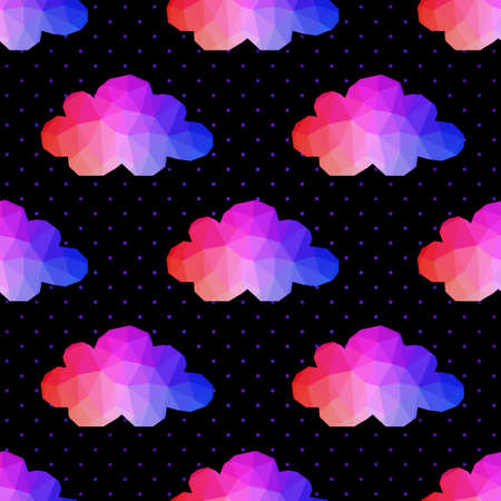 cloudburst: cloud seamless pattern. background made of triangles Square composition with geometric shapes. Weather backdrop. Weather template.