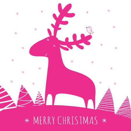christmass: greeting christmass card with deer Illustration