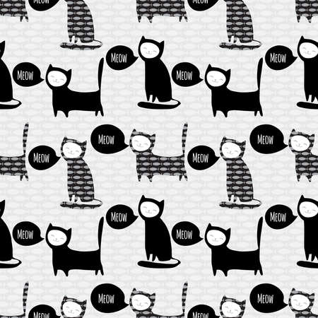 seamless pattern with cute cats Vector