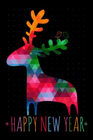 다채로운 deers에 크리스마스 카드 일러스트