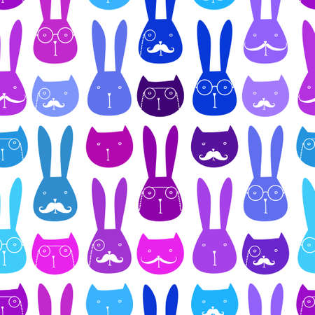 variation: seamless pattern with cute rabbits and cats
