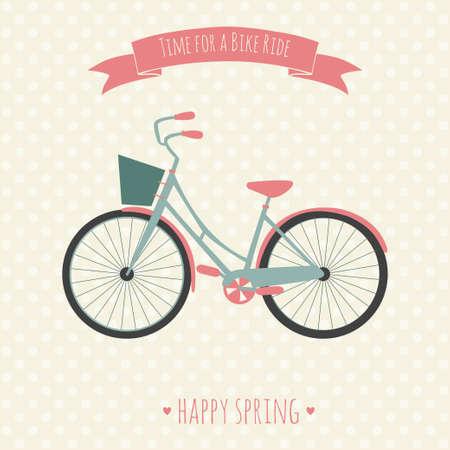 자전거를 타고 자전거 벡터 일러스트 레이 션의 시간을 가진 카드