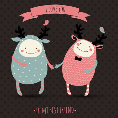cute romantic cartoon card with lovely monsters Illustration