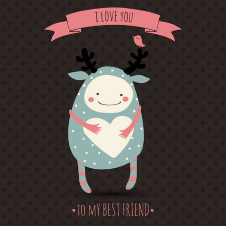cute romantic cartoon card with funny monster Vector