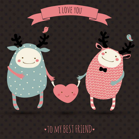 cute romantic cartoon card with lovely monsters Vector