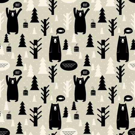 숲과 원활한 패턴과 곰과 나무, 새, 크리스마스 나무와 벡터 배경 곰