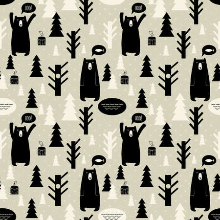 Seamless pattern with forest and bears  Vector background with bears and trees, birds, christmas trees  Illusztráció