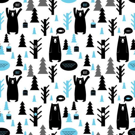 osito caricatura: Patr�n sin fisuras con los bosques y los osos Vector de fondo con los osos y los �rboles, los p�jaros, los �rboles de navidad Vectores