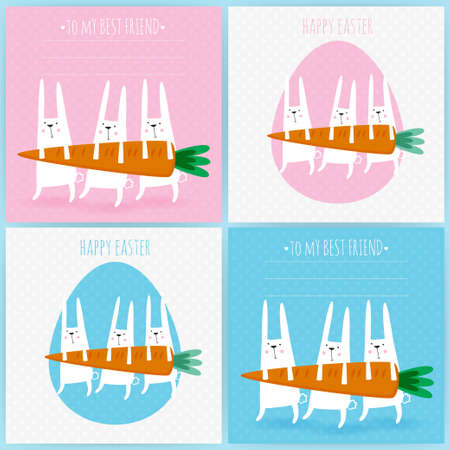 Set of 4 greeting cards with rabbits  Easter greeting cards  Funny doodle bunny  Vector illustration with cute rabbits and carrot