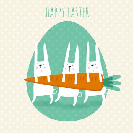 행복 한 부활절 인사말 카드 귀여운 토끼와 당근 벡터 일러스트 레이 션