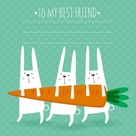귀여운 토끼와 당근 행복 한 부활절 인사말 카드의 벡터 일러스트 레이 션