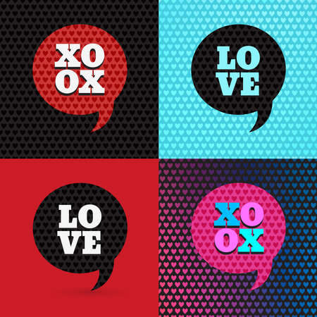 xoxo: Set of 4 valentines day illustrations and typography elements. Illustration