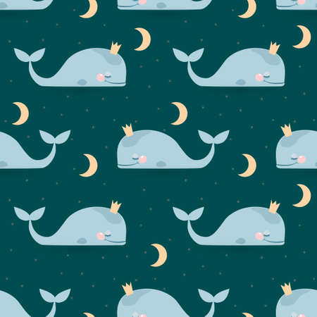 Seamless pattern with sleeping whales, moon & stars. Good night card Vector