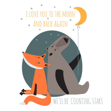 Romatic greeting card with bear and fox. Card about friendship. I love you to the moon and back again.