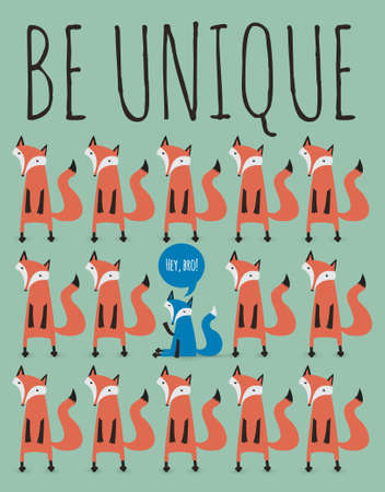 card with foxes. Be unique. Illustration