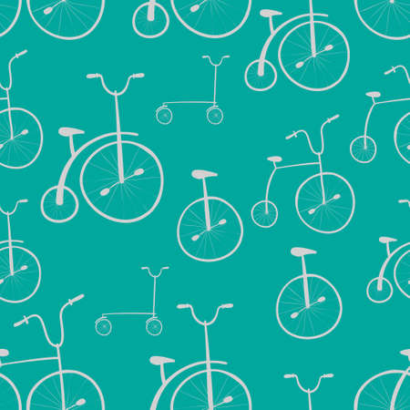 velocipede: Seamless bicycles pattern. Bikes. Use for pattern fills, surface textures web page background, wallpaper. Easy to edit. Illustration