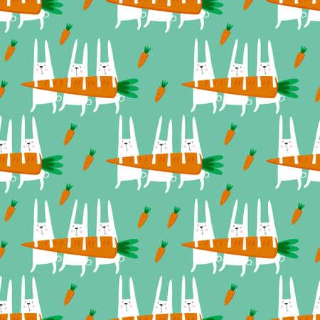 토끼와 당근과 함께 완벽 한 벡터 패턴입니다. 일러스트