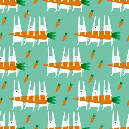 Seamless vector pattern with rabbits and carrots.  Illustration