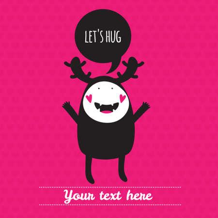 Romantic cartoon card with lovely monster. Vector illustration. Let's hug.