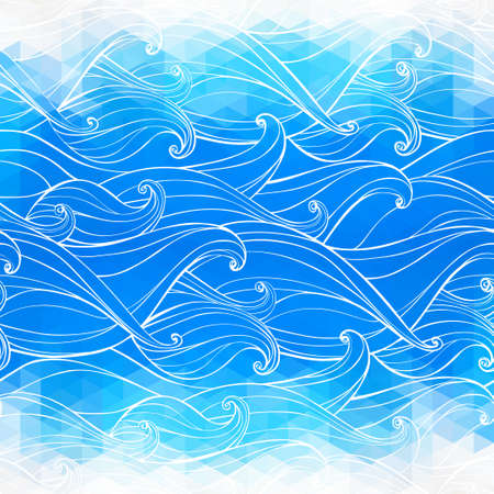 beach ad: Abstract triangular background with hand-drawn waves. Vector illustration. Holiday design. Backdrop. Gradient.