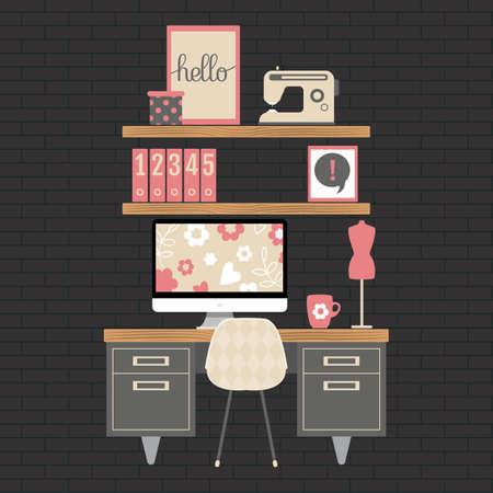 현대 홈 오피스 작업 영역의 그림입니다. 평면 미니멀 스타일. 여자를위한 크리 에이 티브 공예 룸입니다.