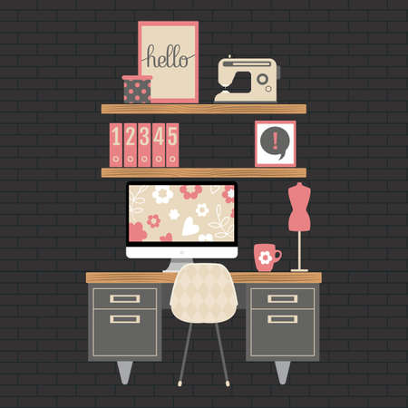 Illustration of modern home office workspace. Flat minimalistic style. Creative craft room for girl.