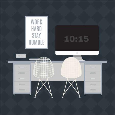 현대 사무실 작업 공간의 그림입니다. 플랫 최소한의 스타일. 크리 에이 티브 사무실 작업 공간. 일러스트