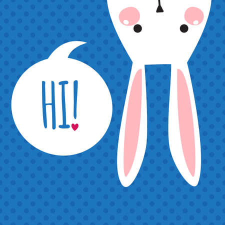 Greeting card with with white Easter rabbit. Funny bunny. Easter Bunny. Çizim