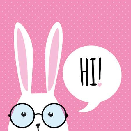 lapin cartoon: Carte de voeux avec de blanc lapin de Pâques. Funny bunny. Lapin de Pâques.