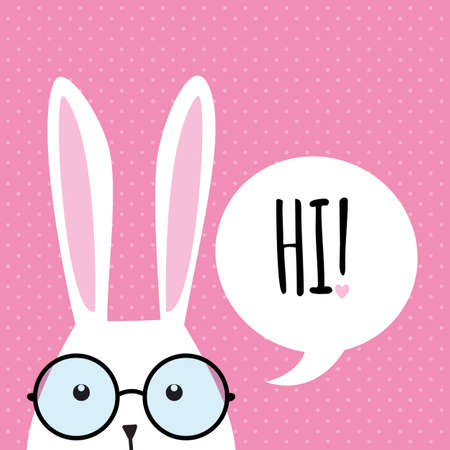 ears: Greeting card with with white Easter rabbit. Funny bunny. Easter Bunny. Illustration