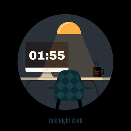 trabajando en casa: Ilustraci�n de moderno espacio de trabajo de oficina. Estilo minimalista plana. Espacio de trabajo de la oficina creativa. Trabajar por la noche. Noche Freelance. Tarde en la noche de trabajo. Ministerio del Interior.