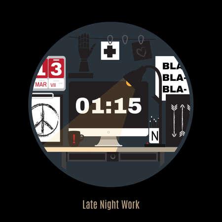 현대 사무실 작업 공간의 그림입니다. 플랫 최소한의 스타일. 크리 에이 티브 사무실 작업 공간. 밤에 작업 할 수 있습니다. 프리랜서 밤. 늦은 밤 작업 일러스트