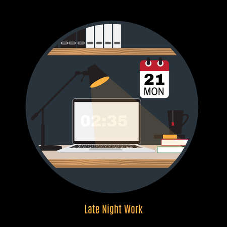 현대 사무실 작업 영역의 그림입니다. 평면 미니멀 스타일. 크리 에이 티브 office 작업 영역입니다. 밤에 일하십시오. 프리랜서의 밤. 늦은 밤 근무. 본
