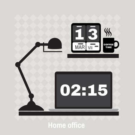 Illustration of modern office workspace. Flat minimalistic style. Creative office workspace.