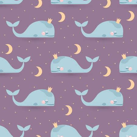 수면 고래, 달 및 별과 원활한 벡터 패턴입니다. 좋은 밤 카드 일러스트