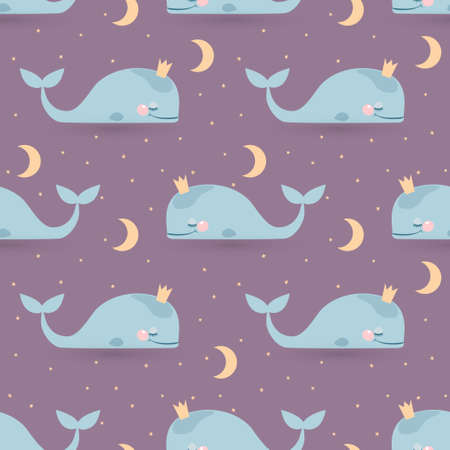 Seamless vector pattern with sleeping whales, moon & stars. Good night card Vector