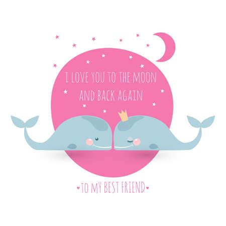 고래와 낭만 인사말 카드입니다. 우정에 대한 카드. 나는 달에 다시 다시 당신을 사랑합니다. 일러스트