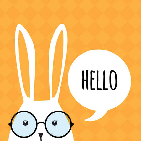 rabbit ears: Greeting card with with white Easter rabbit. Funny bunny. Easter Bunny. Illustration