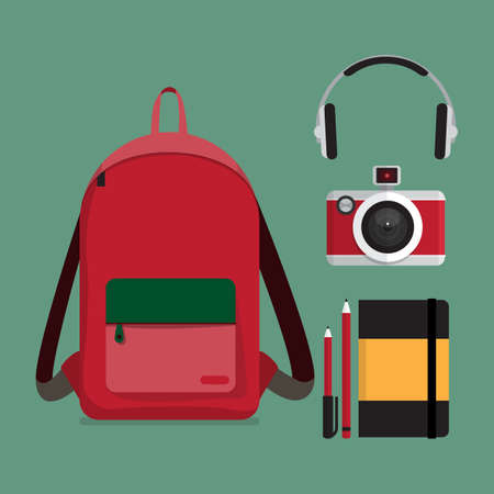 Red backpack with multiple items. Flat style illustration. Illusztráció