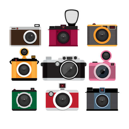 Photo cameras icons set. Flat design vector illustration.