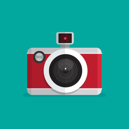 Photo camera icon. Flat design vector illustration.