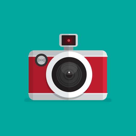 Photo camera icon. Flat design vector illustration.