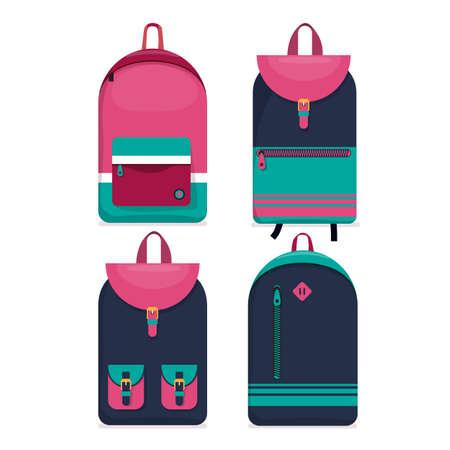 Set of 4 urban backpacks  icons. Flat style.